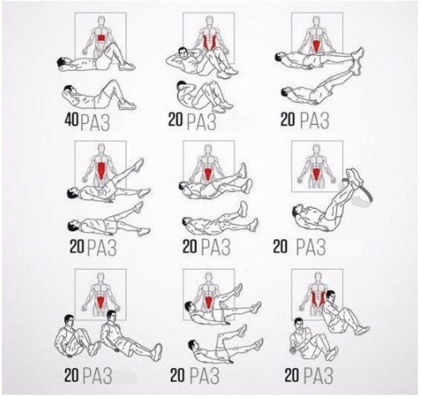 Упражнение для накачки пресса в картинках