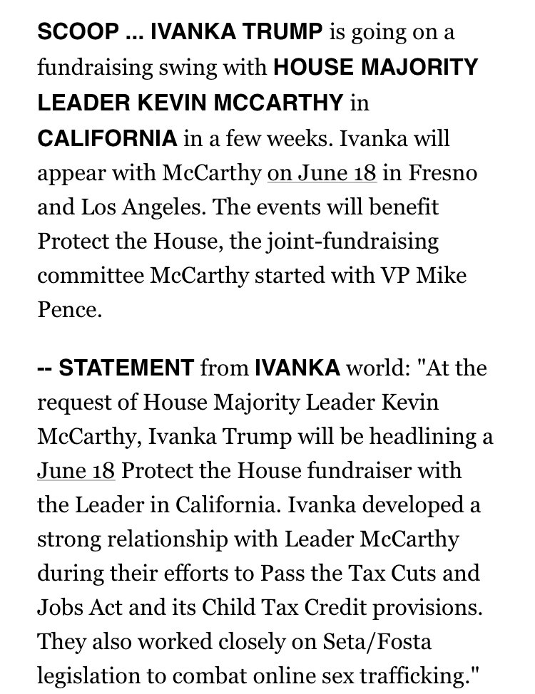 Happy Friday.  In PLAYBOOK this morning: SCOOP: IVANKA is heading to California in June for a fundraising swing w @GOPLeader Kevin McCarthy. Fresno and Los Angeles.