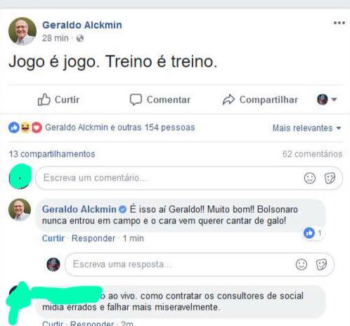 """Ao tentar usar perfil """"fake"""" para atacar Bolsonaro em sua página, equipe de Alckmin erra e usa o dele  https://t.co/xxjWIXKcXm"""