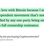 """Image for the Tweet beginning: """"Why are you buying Cryptocurrencies?""""-@CharlieShrem"""