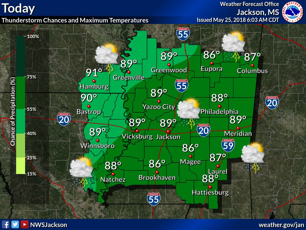 Happy Friday! Rain chances across the area are much higher for today. Showers and thunderstorms are possible late this morning and through the afternoon. Temperatures will stay consistent though with highs in the upper 80s to lower 90s.
