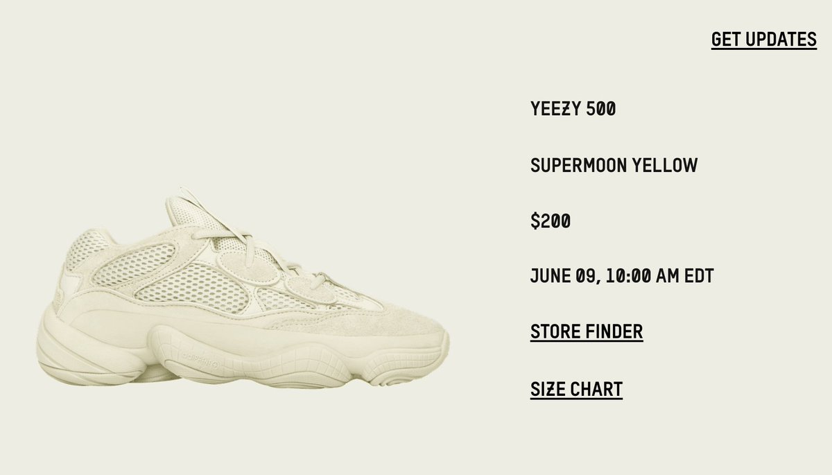 d6411bdc55db4 adidas YEEZY Page updated YEEZY 500  Supermoon Yellow  releasing June 9th  US http   bit.ly 1WBSBpQ UK http   bit.ly 1Py97Vp FR http   bit.ly 1XMAKgT  ...