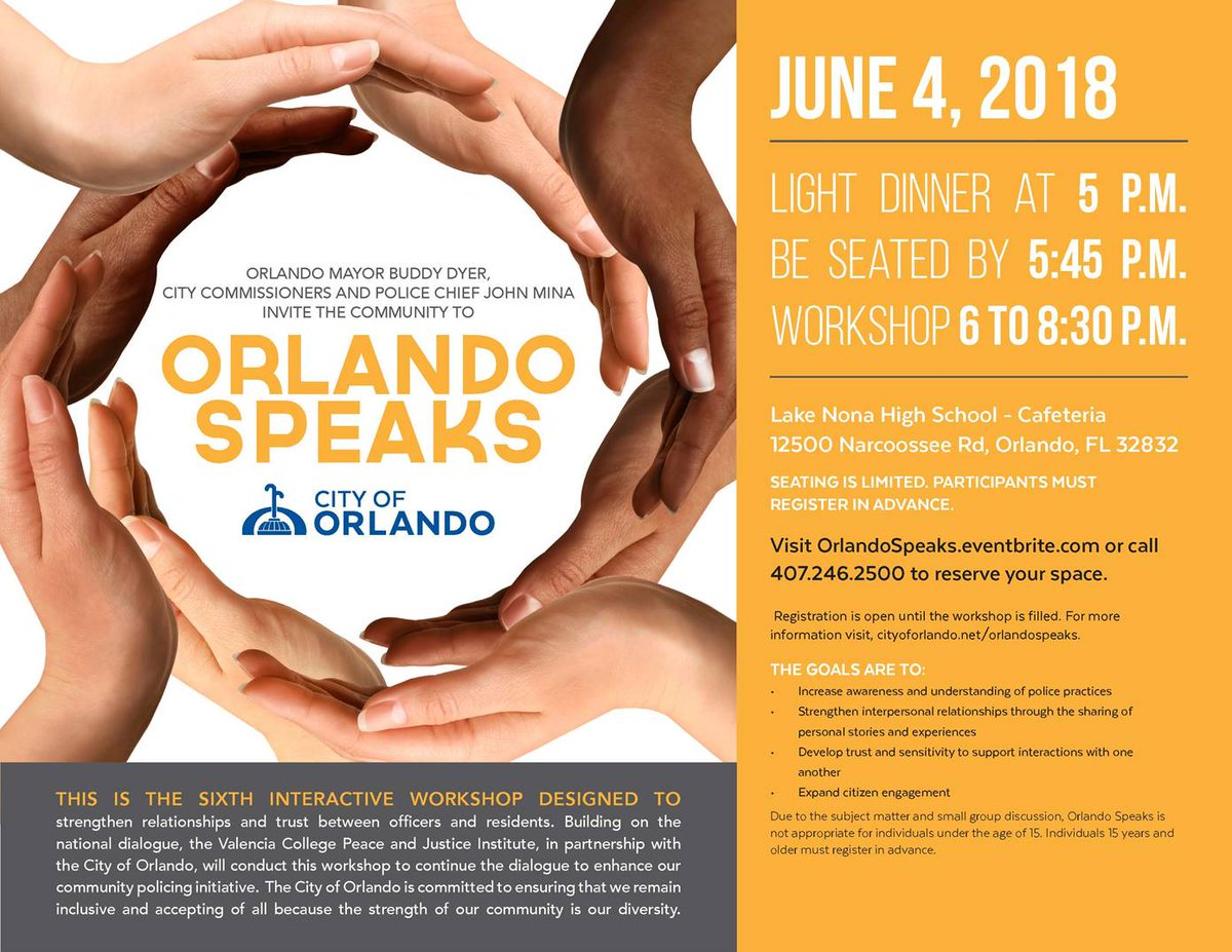 Please join us for the next Orlando Speaks on June 4 from 5-8:30 p.m. at the Lake Nona High School Cafeteria, 12500 Narcoossee Rd. You must pre-register: cityoforlando.net/oca/orlando-sp…