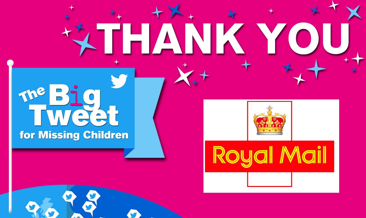 Our award winning partnership with @RoyalMail has allowed us to develop our @CRAAlerts system and helped save children's lives. As one of our biggest corporate supporters, we can't thank them enough for their continued support. #FindEveryChild