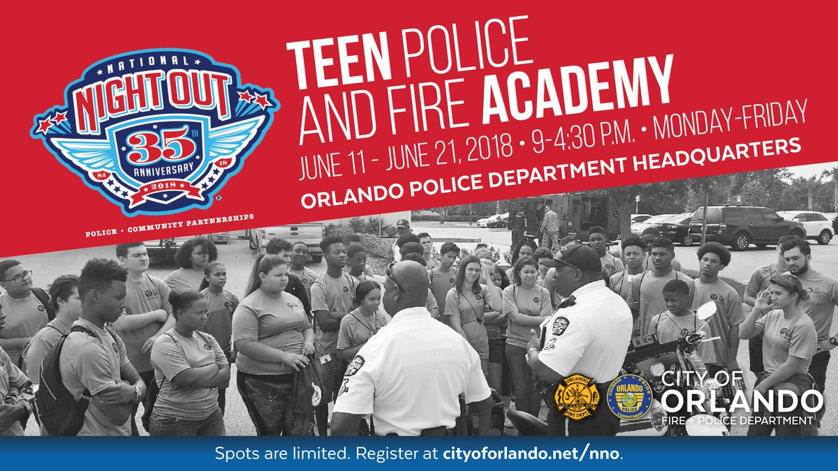 Time is running out to register for the OPD/OFD Teen Police and Fire Academy. Are you a teenager who thinks they might want to pursue a public safety career? This is a great way to see if its a good fit! Space is limited, so register today. cityoforlando.net/police/registr…