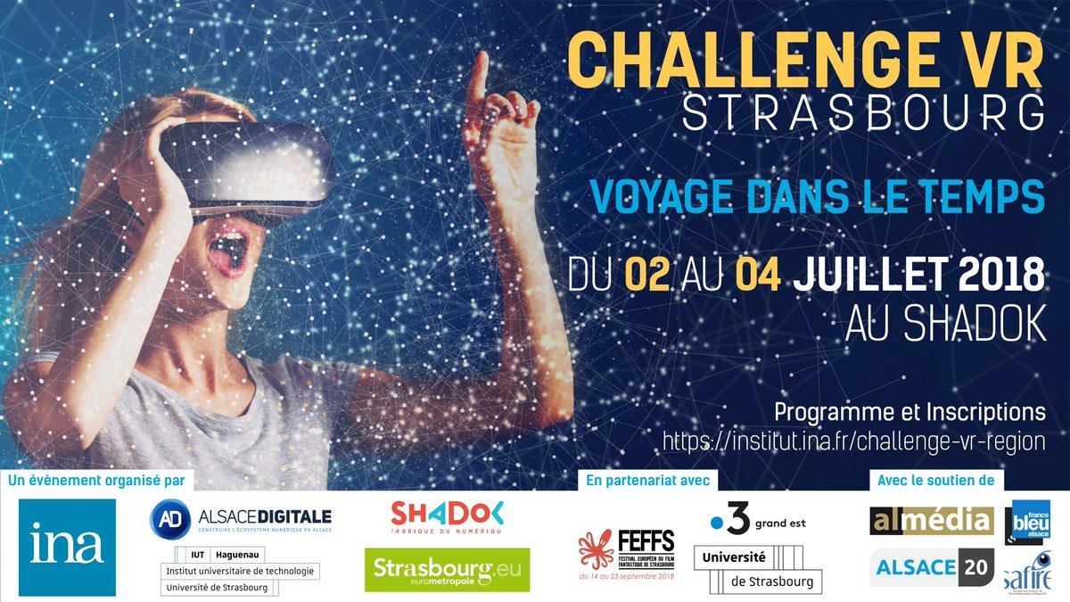 L'Ina lance son premier challenge de réalité virtuelle à Strasbourg du 2 au 4 juillet 2018.  Inscriptions :  https://t.co/KMLKoeVSyF  #VirtualReality