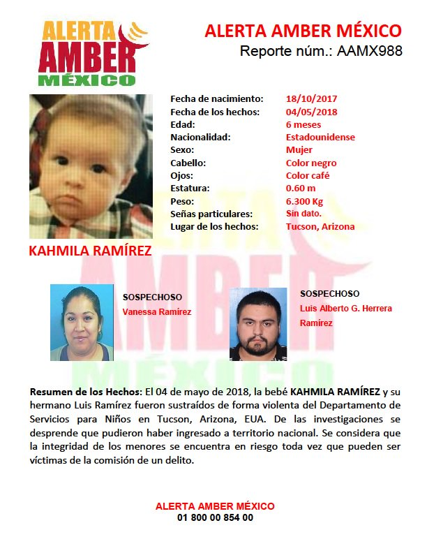 #AlertaAmberMx continúa la búsqueda para la localización de la bebé KAHMILA RAMÍREZ de 6 meses de edad.