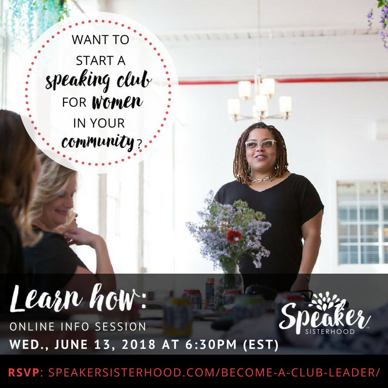 Learn how to start a #SpeakerSisterhood #speaking club in your own community. Sign up for our free, 60-minute online info session on Wed June 13 at 6:30 pm ET. #womentakingthelead #womanspeaker #publicspeaking  https:// buff.ly/2qqhXf1  &nbsp;  <br>http://pic.twitter.com/OoILFQRof0