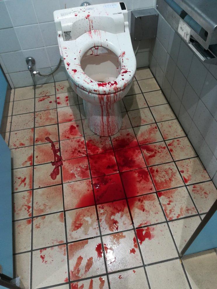 松戸駅トイレで撮影された事件・事故の可能性のあるTwitter画像