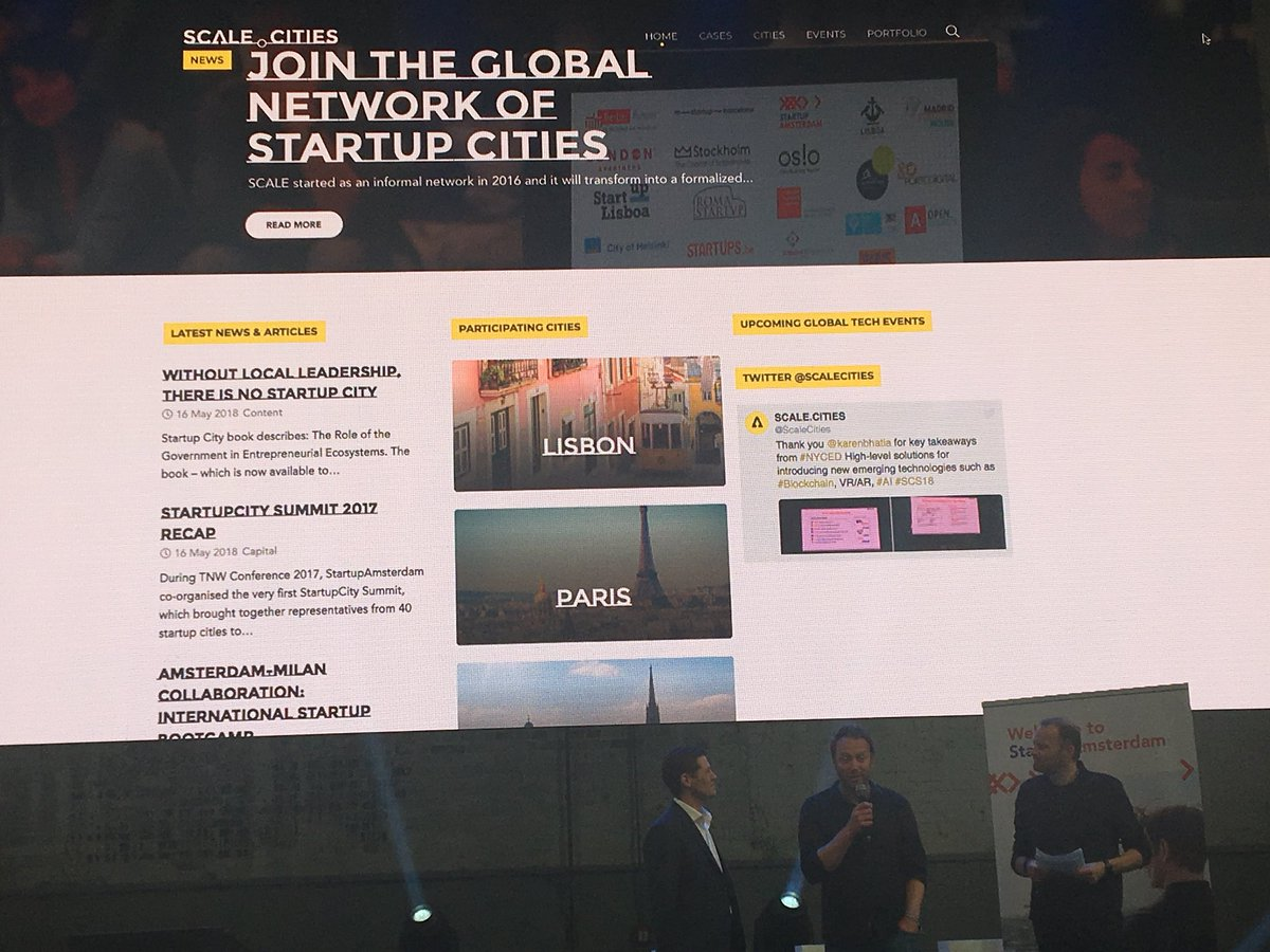 Launch of the @Scalecities network @Startup_Adam Startup City Summit @TNWconference today. Great initiative to help share best practices and experiences amongst cities so we can all perform better in growing our startup ecosystems. @NLinChicago<br>http://pic.twitter.com/QOfqCkHg9q