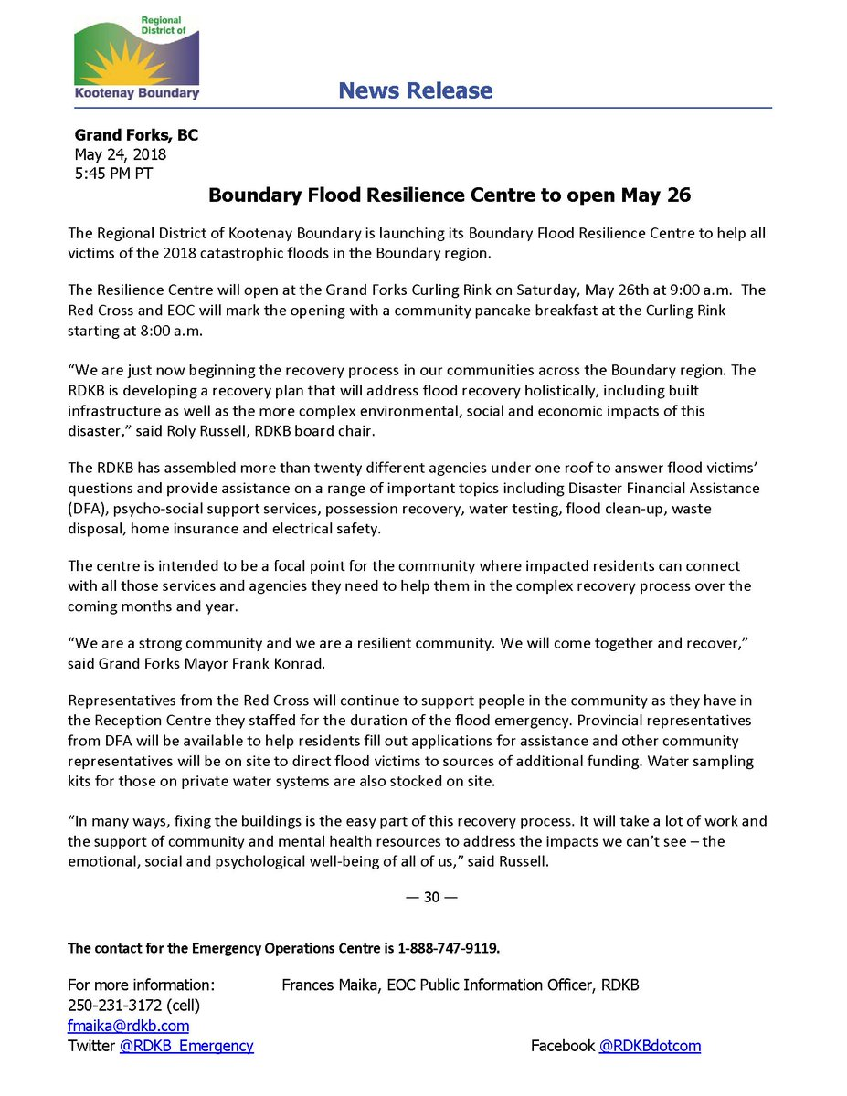 Boundary Flood Resilience Centre to open May 26. @EmergencyInfoBC #BCFlood #community #2018Freshet #recovery<br>http://pic.twitter.com/MuCuslcgJo