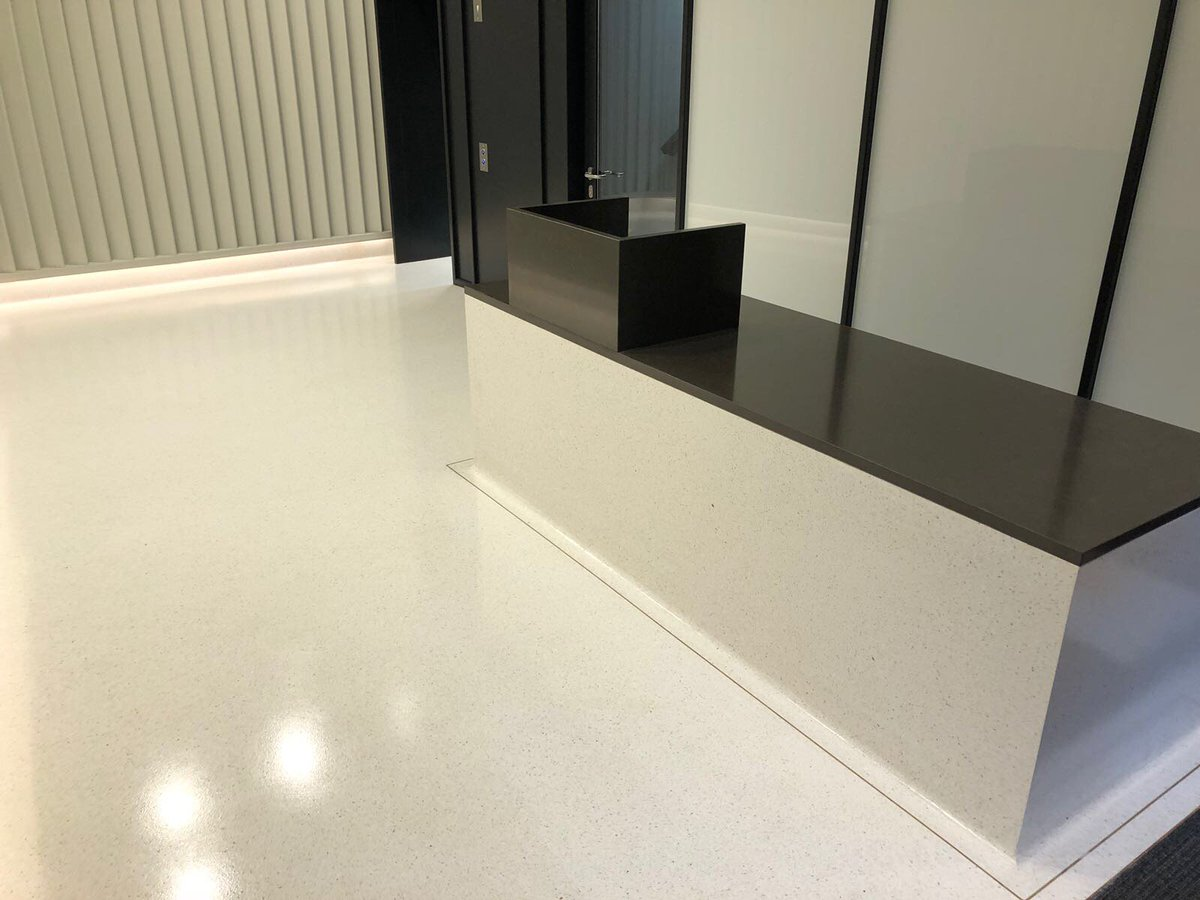 Seamless resin terrazzo floor and desk - @FlowcreteUK Mondeco - All works, including the terrazzo desk completed by RFS #resinflooring ...