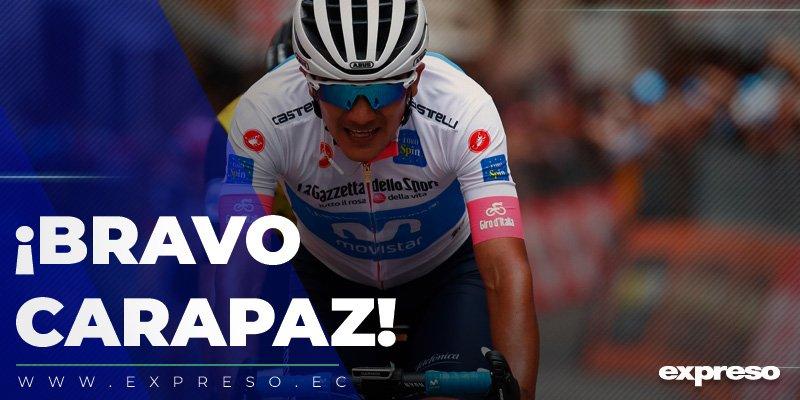 Richard Carapaz llegó 2° en la etapa 19 del Giro de Italia sorprendiendo en el tramo final con llegada en alto. Ascendió al quinto puesto en la clasificación general.