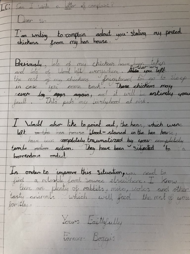 On Twitter Superb Persuasive Complaint Letters Written To Fantastic Mr Fox From Farmer Boggis Well Done Jessica And Emily In Mr Hosker S Class Rlhsports Https T Co 8raw5vpzom