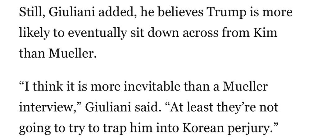 "Rudy Giuliani says Trump is still more likely to sit across from Kim Jong Un than Robert Mueller — because at least the dictator won't entrap him with ""Korean perjury."" https://t.co/Ey4TXQSt6Q"