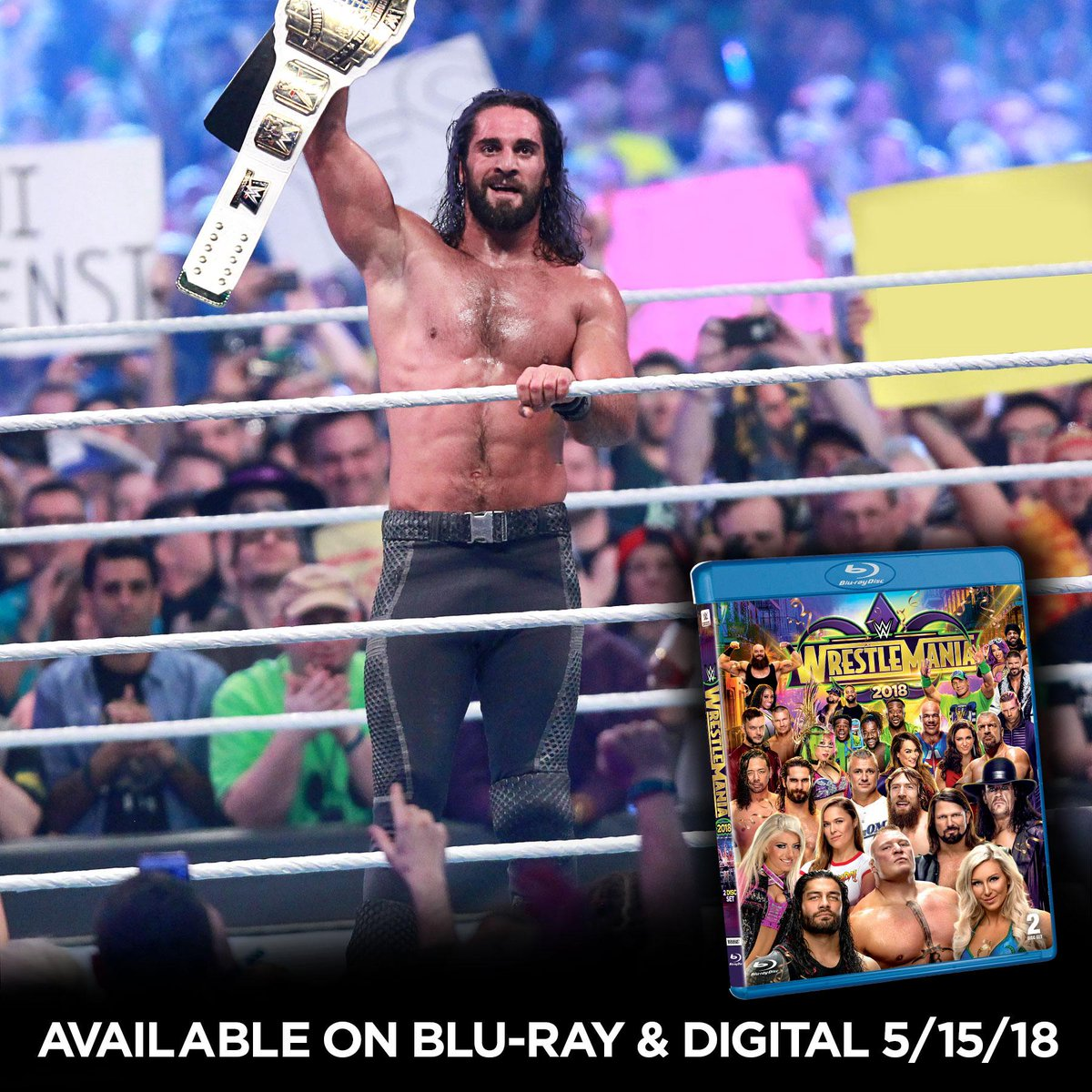 The night #GrandSlamRollins became a reality. #WrestleMania 34 is available now on Blu-ray at @BestBuy! @WWERollins