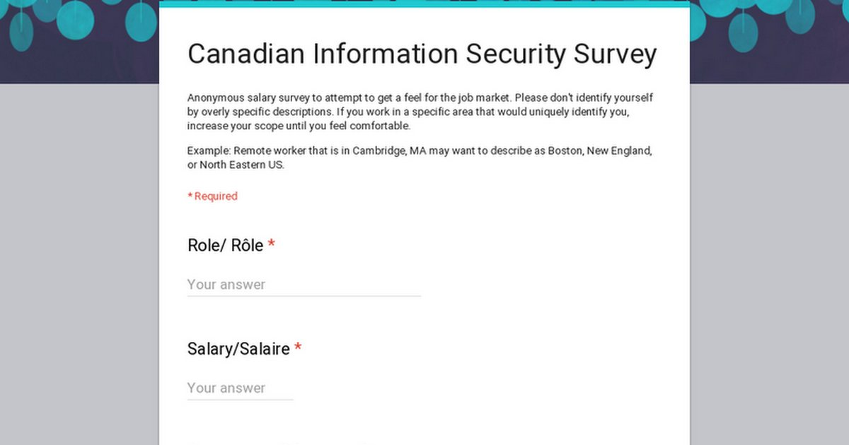 Canadian Infosec Survey. Please Share/RT!  To gather valuable data about the information security market, salary, etc. across Canada we invite you to fill out this anonymous survey to share this precious data with your peers!  Survey:  http:// bit.ly/CadInfosecSurv ey &nbsp; …   A @blacktip project!<br>http://pic.twitter.com/y5qhxW23u9