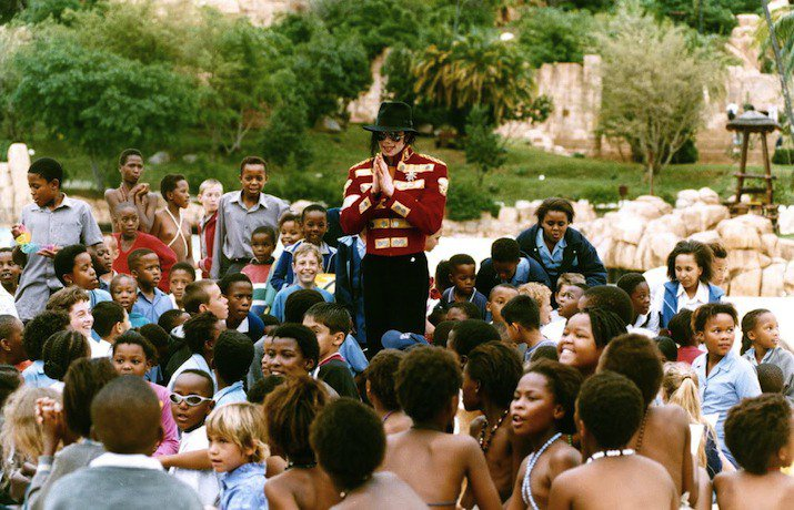 """Michael loved to visit Africa. He once said """"[Africa] is the dawn of our civilization. A lot of our bible history is right there in Africa. King Tut, all great civilizations, come from Africa...I love the people. I love what they represent"""" Photo: MJ visits Sun City, South Africa"""