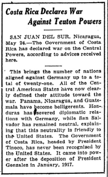 May 25, 1918 - New York Times: Costa Rica declares war on Germany #100yearsago