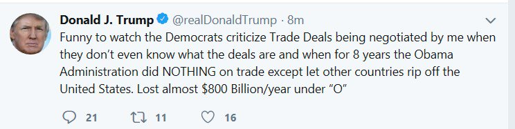 Aside from the usual issue with Trump calling a trade deficit a &quot;loss&quot;: the $800 billion figure counts only trade in goods and excludes trade in services. Counting all trade, the U.S. deficit was $566 billion last year. <br>http://pic.twitter.com/sXp8m5bCL4