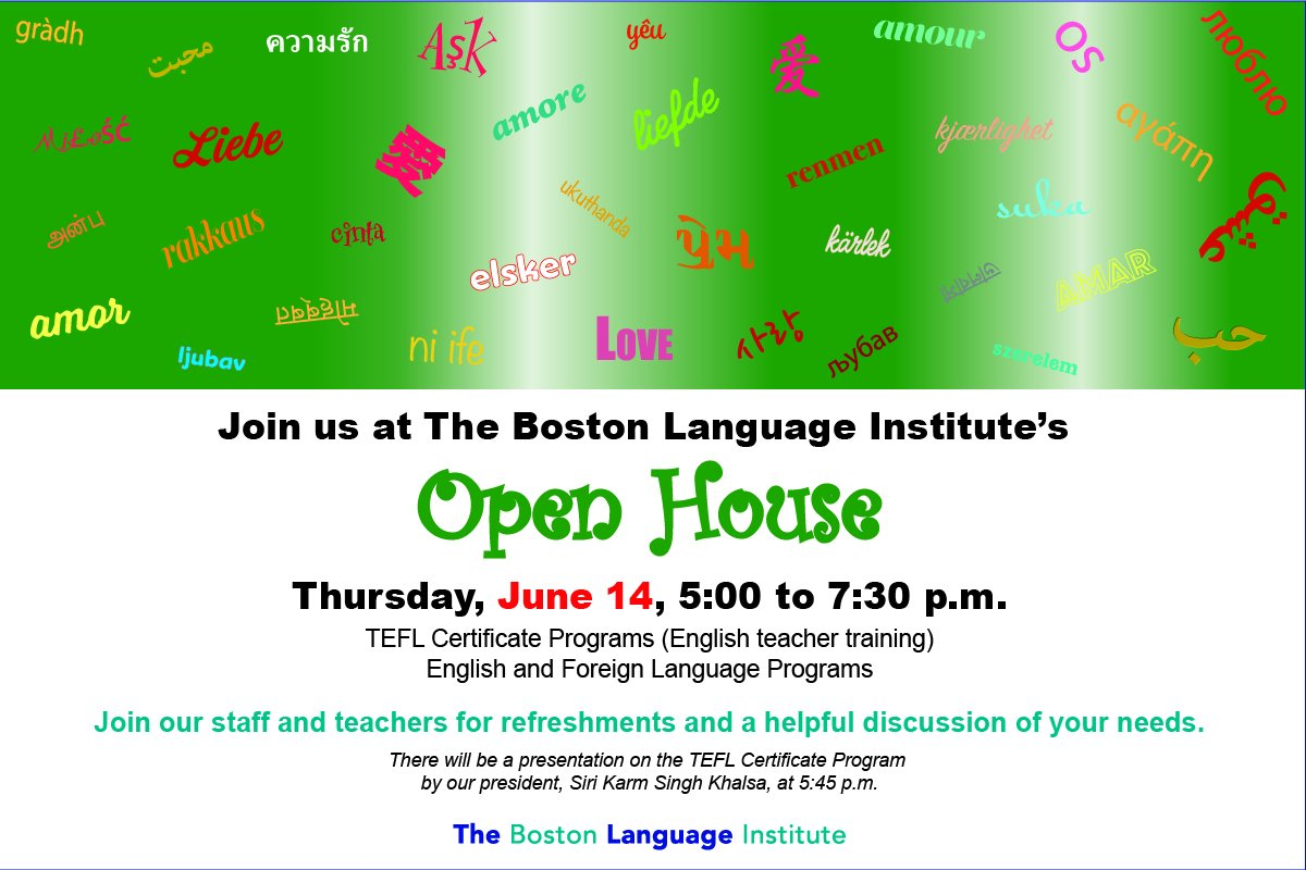 Boston Language On Twitter Open House Thursday June 14th 5 To 7