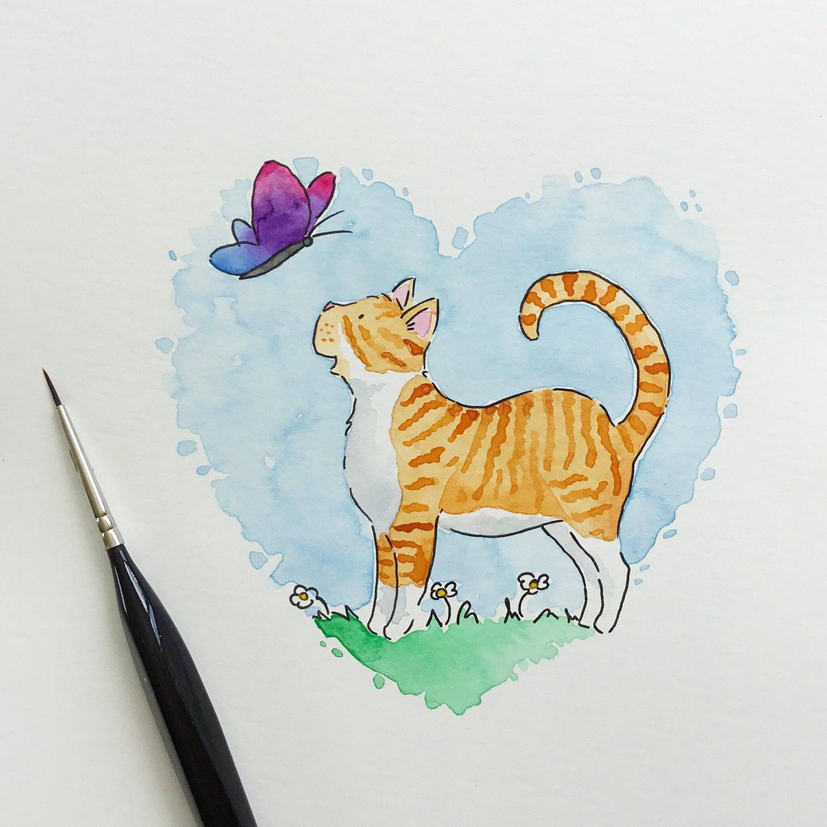 f5dbd5705484 ... touch of  Gamboge colouring to it ...  colour collective  watercolour   illustrator  illustration  painting  artist  art  kitten  cats  socute   kidlitart ...