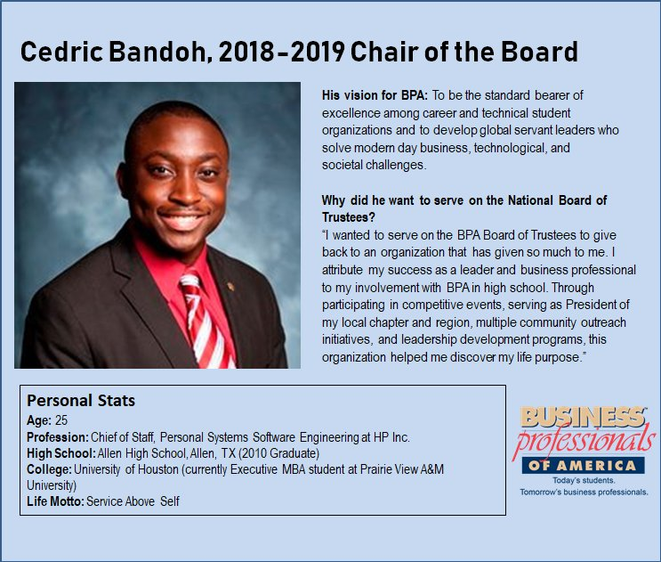 Happy #FeatureFriday BPA! We&#39;re excited to introduce you to our 2018-2019 Chair of the Board, Cedric Bandoh! #DYK that at only 25-years-old, Cedric is the youngest serving Chair in BPA history? Learn more about Cedric by checking out his vlog at:  https:// youtu.be/syK_sOkO6_Y  &nbsp;  <br>http://pic.twitter.com/gGwKZl8PZW