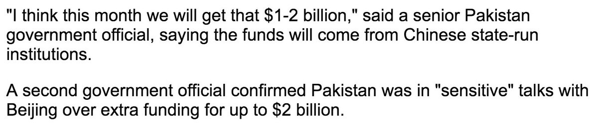 Reuters reports on yet more proposed Chinese lending to Pakistan to help them through the balance of payments crisis (at least until after the elections). This is on top of the lending just reported by the FT: reuters.com/article/us-pak… via @Draz_DJ