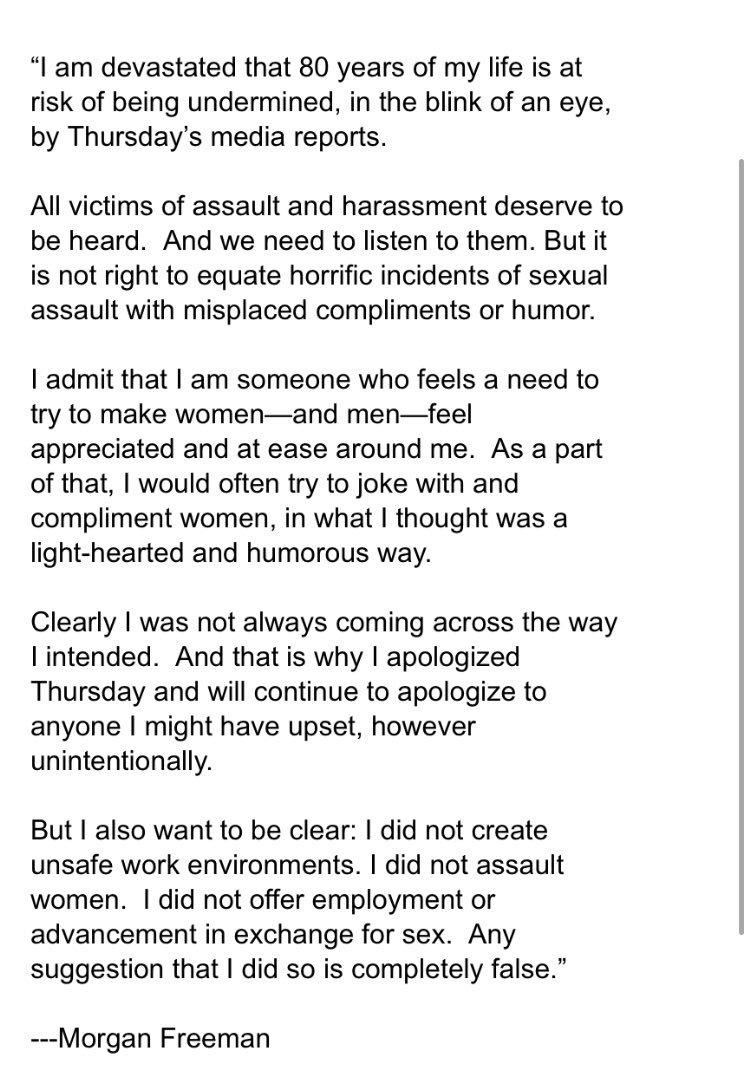 NEW: a new statement from Morgan Freeman:
