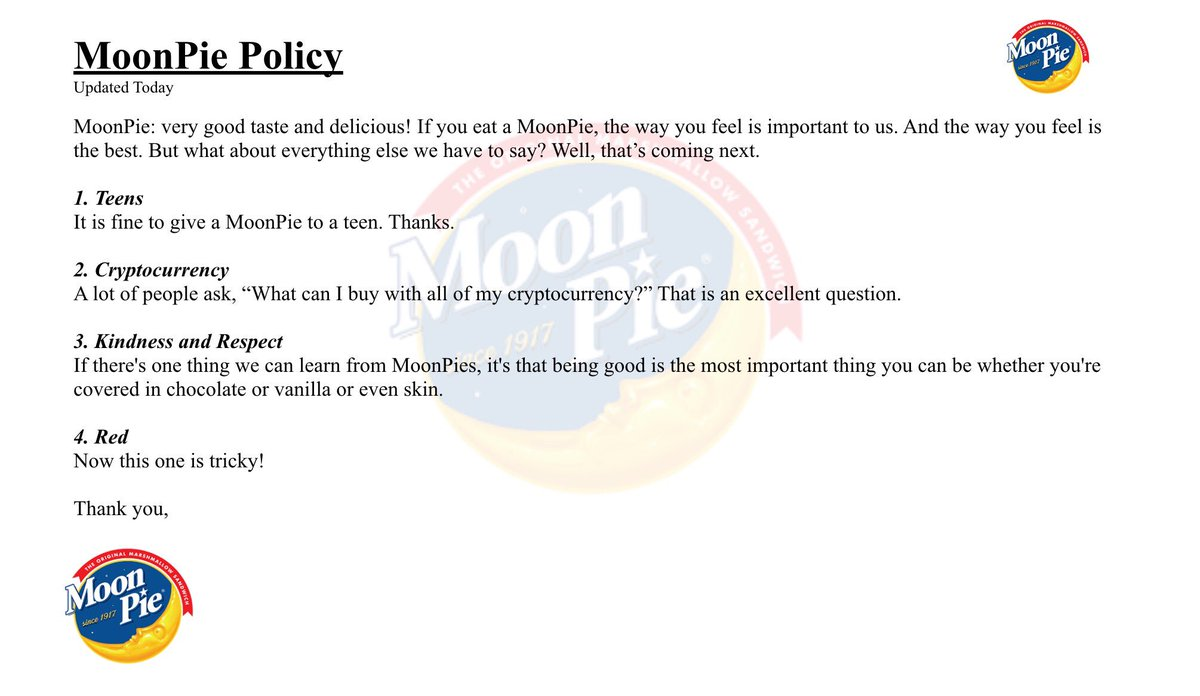 We have updated our MoonPie policy