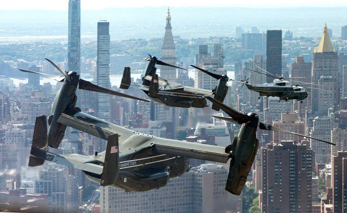 WH photo from @POTUS trip to NYC on Wednesday brings to mind 'Ride of the Valkyries.' (WH photo by @AndreaHanks).