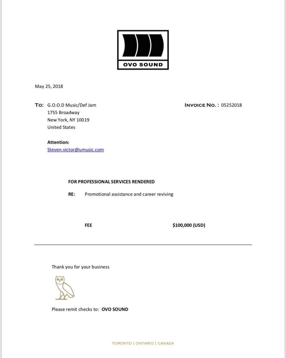 No Jumper On Twitter Drake Sent GOOD Music An Invoice For All - Drake invoice