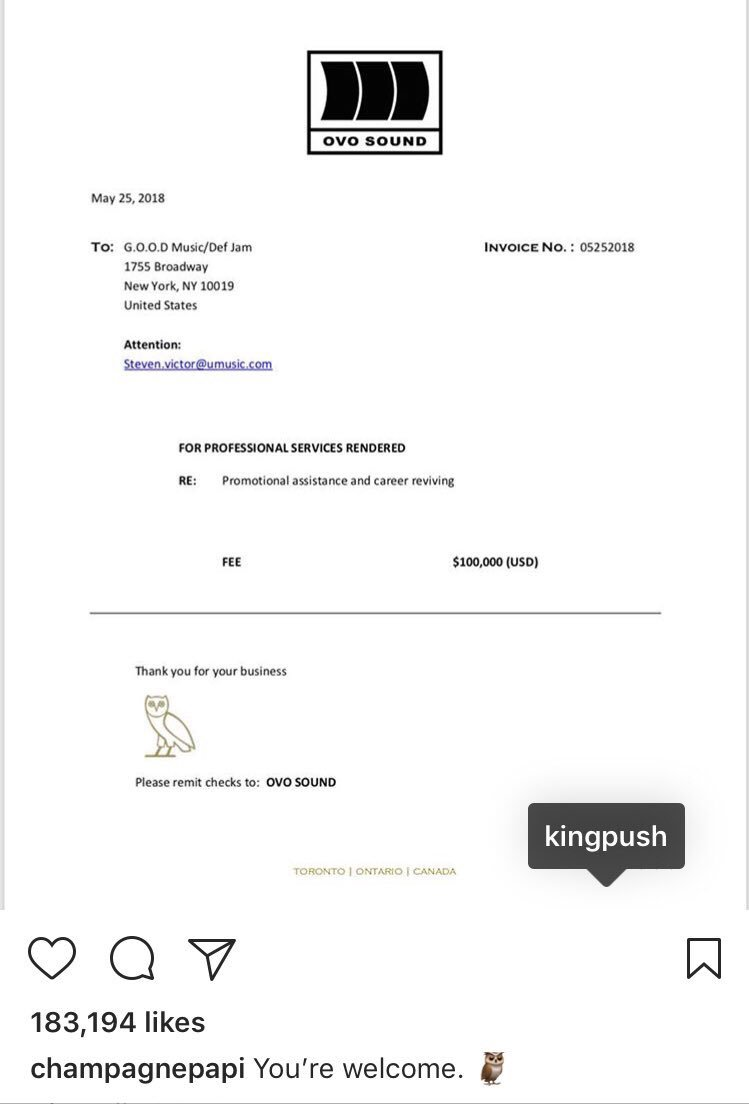 Hot Freestyle On Twitter Drake Actually Sent Pusha T An Invoice - Drake invoice