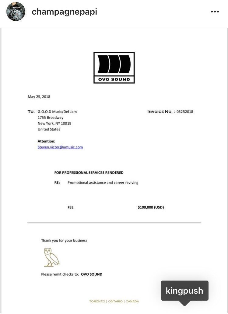 Drake really sent the invoice, more chune for ya head fam that boy good. <br>http://pic.twitter.com/fyCTnqoqKF