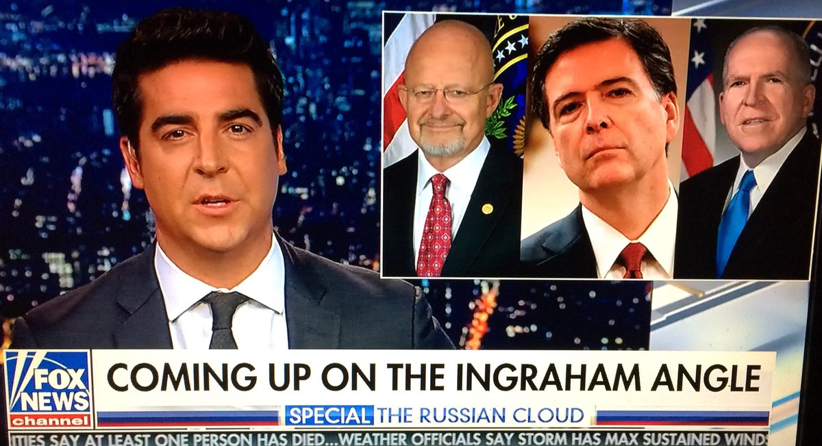 """Remember when these three ridiculed the following claim by @POTUS @realDonaldTrump? """"Terrible! Just found out Obama had my 'wires tapped' in Trump Tower just before the victory. Nothing found.""""  March 4, 2017. #Spygate #IngrahamAngle<br>http://pic.twitter.com/dENjVfxnIw"""