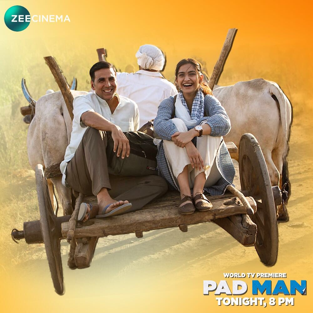 Sahi paagalpan bhi ek superpower hain! Watch the inspiring story of a mad man who went on to become Pad Man. Catch the World TV Premiere of Pad Man with your entire family, tonight at 8 PM, only on @zeecinema #PadManOnZeeCinema.