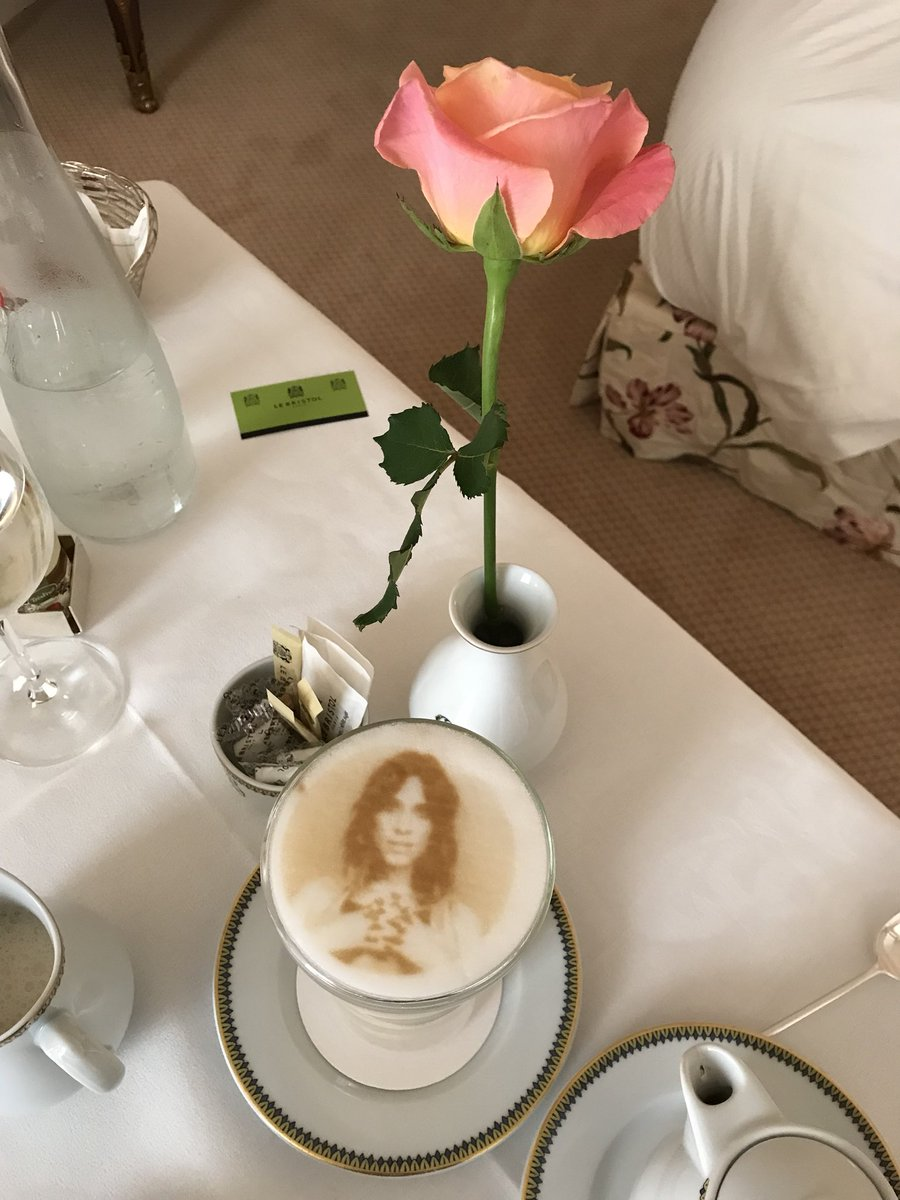 So it's a pot of coffee with another extra coffee with my face on it in foam. OK? Are you writing this down?