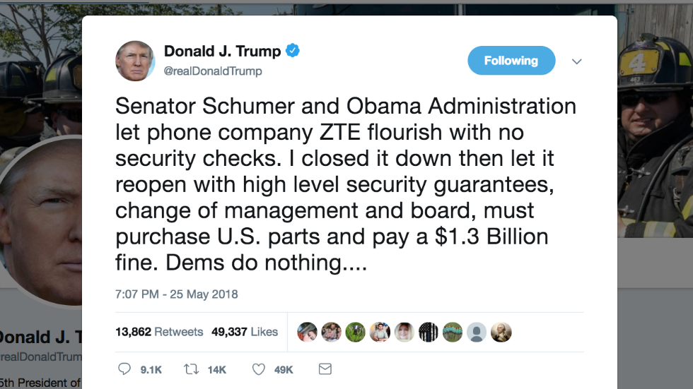 Trump appears to confirm a deal to help Chinese telecom giant ZTE https://t.co/LXb7UWSjaI