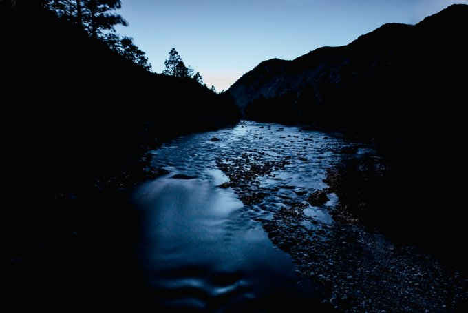 "Word of the day: ""kawaakari"" - the glow of a river or stream"