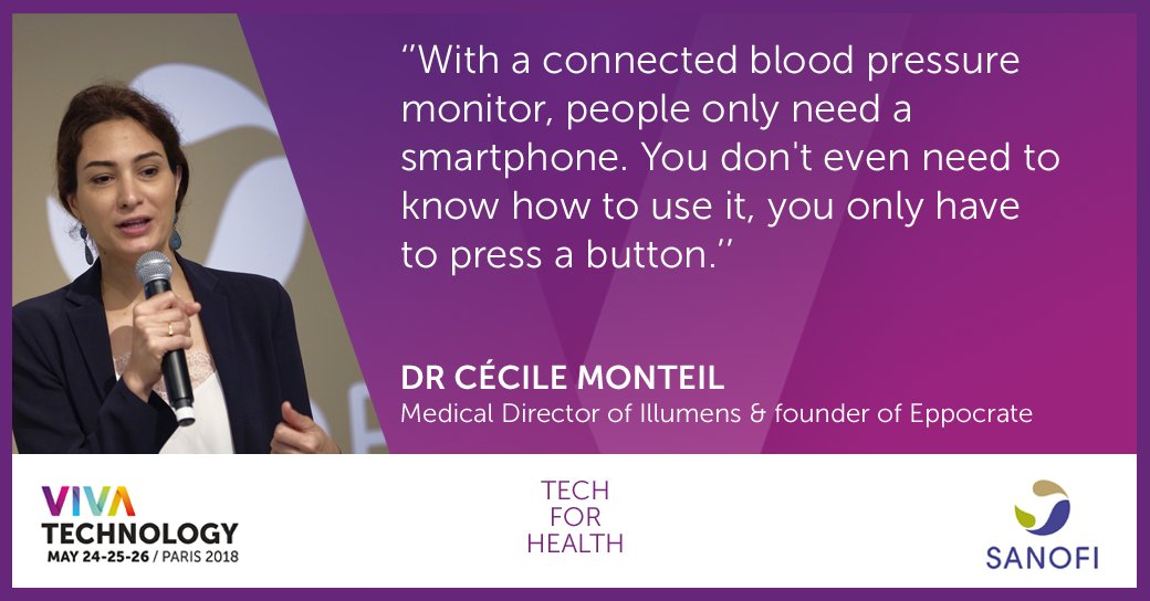 🔴LIVE at #VivaTech : Dr Cécile Monteil @Barbadocteur, Medical Director, Illumens & founder of , sh@eppocrateares insights on the difference that connected objects can make to patients' lives.  #TechForHealth#Sanofi