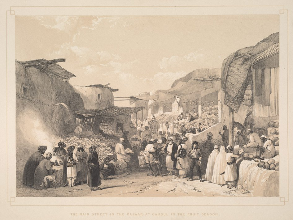 The main street in the bazaar at Caubul in the fruit season. Plate 19 from Sketches in Afghaunistan by James Atkinson bl.uk/onlinegallery/…
