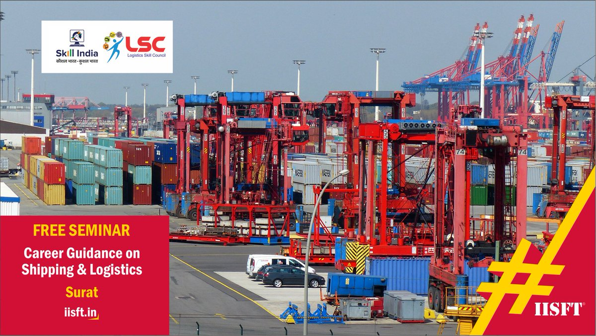 """Free Seminar in #Surat """"#Career Guidance in #Shipping & #Logistics"""" Register: https://t.co/g9nAsyvTVT …  For more details https://t.co/U7EhjkuZa8   or call 9033756583  #IISFT #GovernmentApprovedShippingCourses #LogisticsSkillCouncil #LSC #LSCShippingCourses #ShippingCoursesLSC https://t.co/L7FXR2RjpE"""