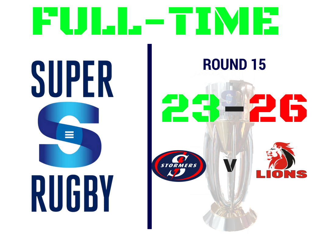 #LIVE #STOvLIO FULL-TIME at Newlands! @THESTORMERS 23-26 @LionsRugbyCo @SuperRugby https://t.co/8D4Eo6U6GY
