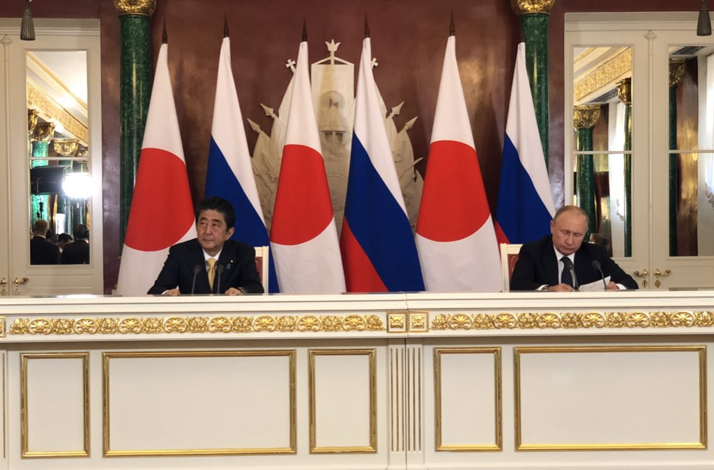 首脳会談が終わって、両首脳は記者会見。 8項目の協力プラン、4島での共同経済活動、北朝鮮問題などなどについて踏み込んだ議論が行われました。