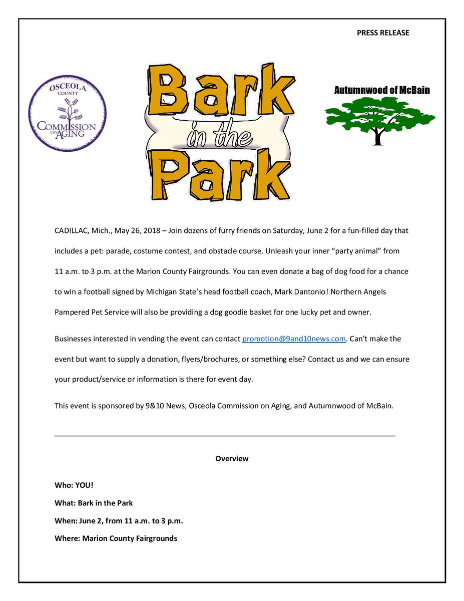9 10 News On Twitter Happy Memorial Weekend Northern Michigan Enjoy Next By Joining Us A Week From Today For Bark In The Park
