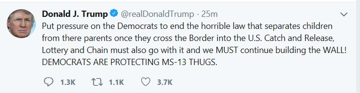 This is a big lie. 1) There is no law requiring children to be separated from parents. 2) Democrats are already asking him to reverse his policy. 3) Republicans control Congress. 4) The 2008 law his administration points to as evidence for the claim was signed by G.W. Bush.