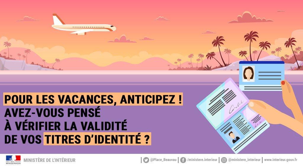 ✈️ Le soleil vous inspire et vous pensez à vos prochaines vacances ? Si vous partez à l'étranger, pensez à vérifier la validité de votre #passeport et de votre carte d'#identité et au besoin, anticipez leur renouvellement ➡️ https://t.co/xmy5TkPUJT