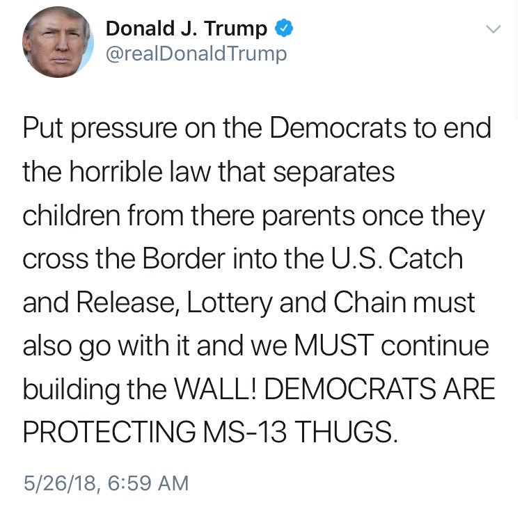 President Trump blamed Democrats for a policy that separates children from their parents when they cross the border illegally.   That policy was announced by the Trump administration earlier this month.