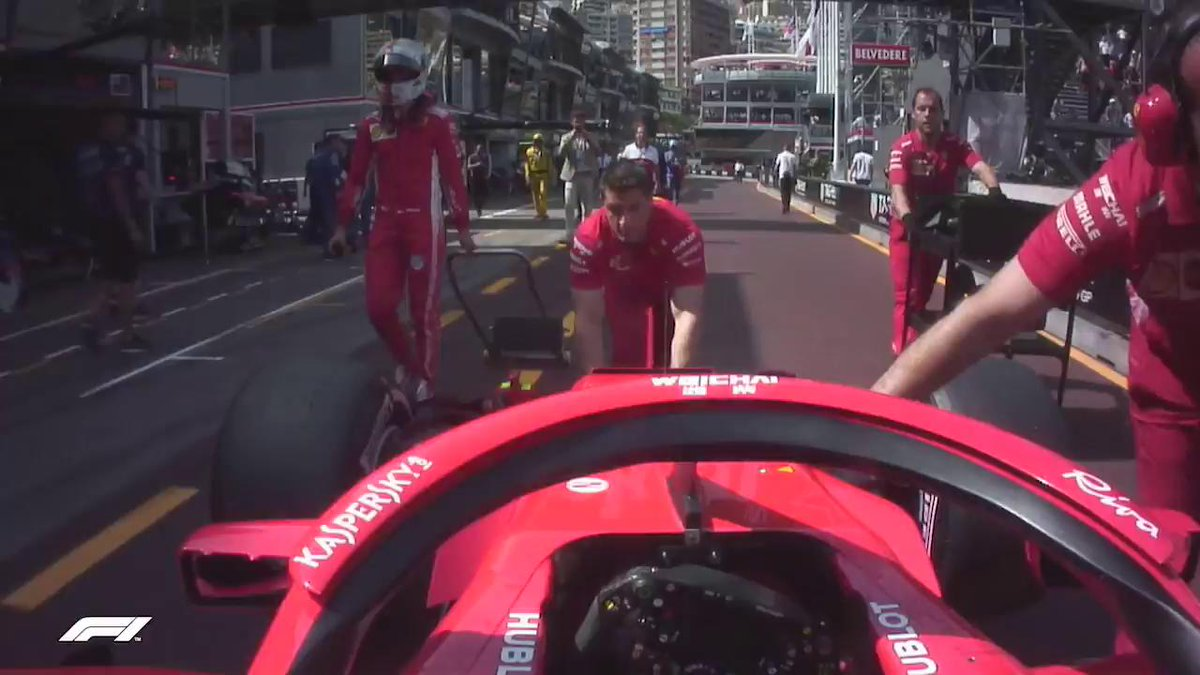 If youre wondering why Seb missed the post-qualifying interviews, he was busy helping his mechanics after a parking mishap 😂  #MonacoGP