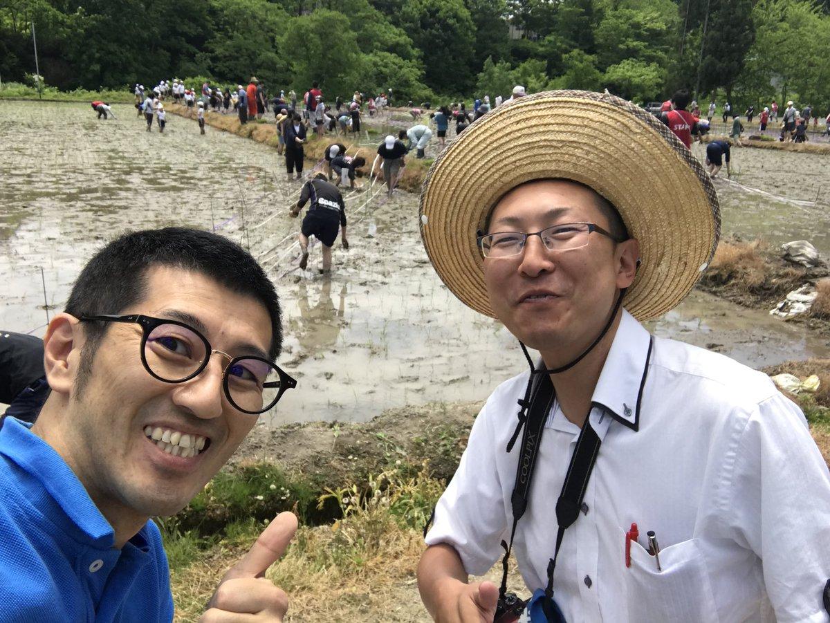 #田んぼアート 田植えです!今年は、直江兼続公と #かねたん !! お楽しみに。#近いよ米沢